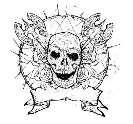 dode bladeren: Schedel en bloemen dag van de doden Stock Illustratie