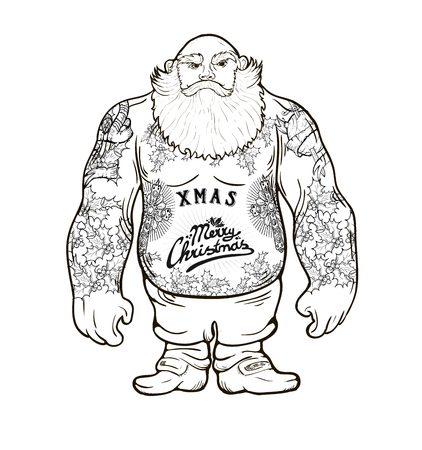 christmas postcard: Funny cartoon illustration of mighty Santa Claus chest with Christmas tattoos with greeting.