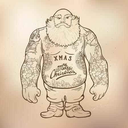 uomo rosso: Illustrazione divertente cartone animato di Babbo Natale possente torace con tatuaggi di Natale con auguri.