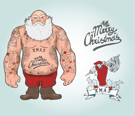christmas postcard: Funny cartoon illustration of mighty Santa Claus chest with Christmas tattoos with greeting. Tattoo salon