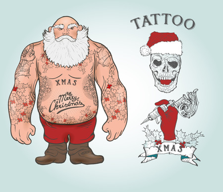 Funny cartoon illustration of mighty Santa Claus chest with Christmas tattoos with greeting. Tattoo salon