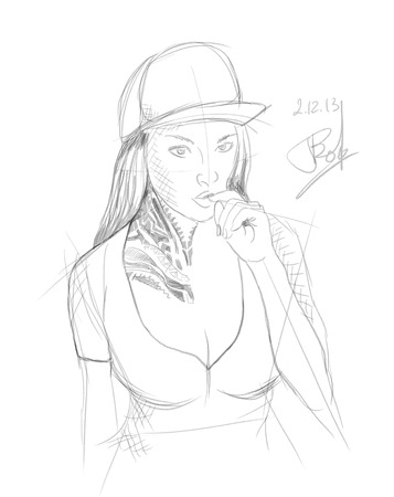 mexican girl: rap girl in a cap with tattoo Ladyrocker