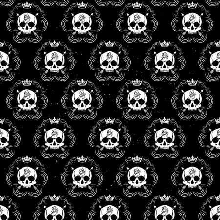 tatouage: Motif pirate papier peint de cr�ne pour salon de tatouage Illustration