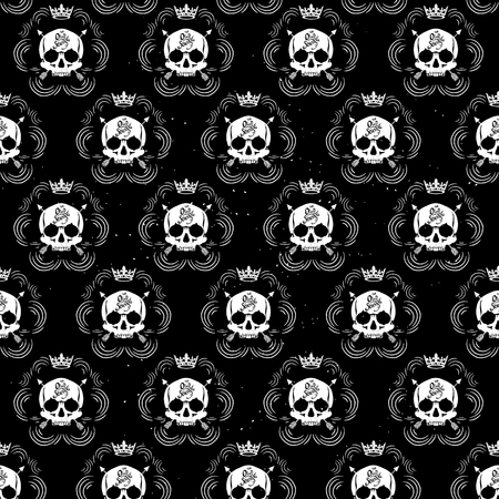 Pattern pirate skull wallpaper for tattoo parlor Illustration