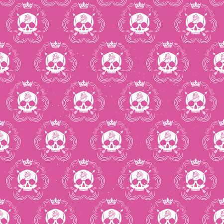 parlor: Pattern pirate skull wallpaper for tattoo parlor Illustration