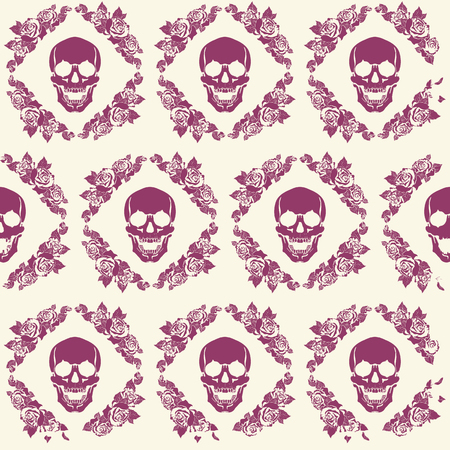 halloween background: a human skull in a frame of flowers pattern Illustration