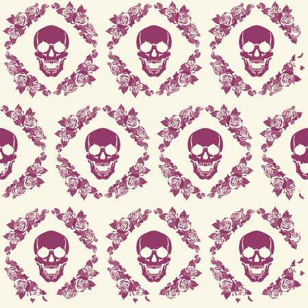 a human skull in a frame of flowers pattern Stock Illustratie