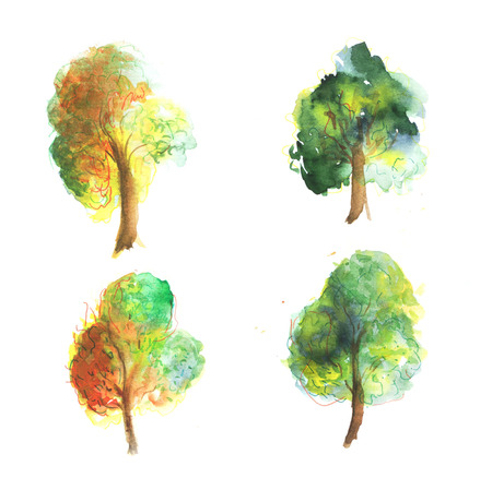 walnut: Set of watercolor trees. Hand painting. Watercolor. Illustration for greeting cards, invitations, and other printing projects.