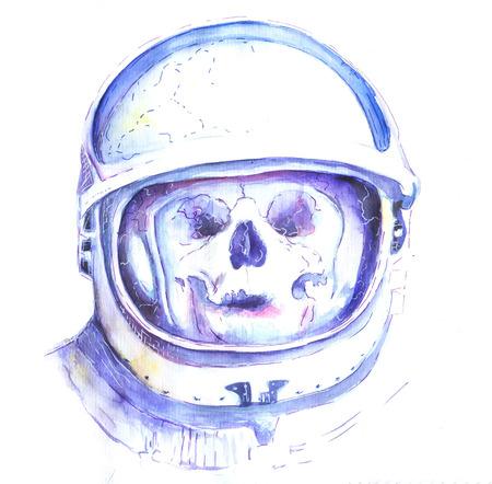 Watercolor illustration of a purple skull wearing a green space astronaut helmet.