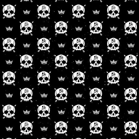 repeat pattern: Pattern pirate skull wallpaper for tattoo parlor Illustration