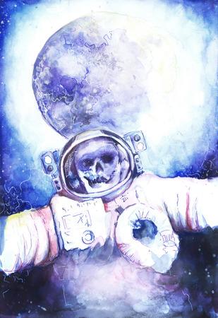 deceased: Watercolor photo of the deceased astronauts in space