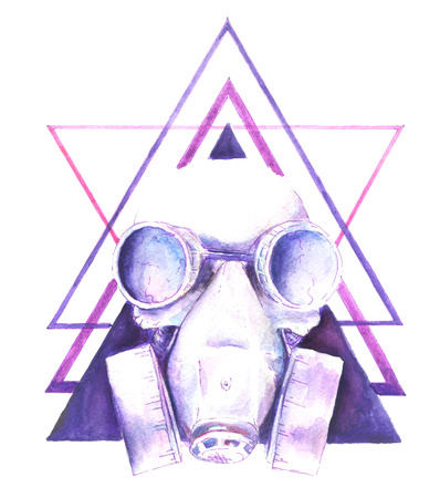 dirty teeth: Watercolor Steampunk skull gas mask with graphic elements triangle, shirt design