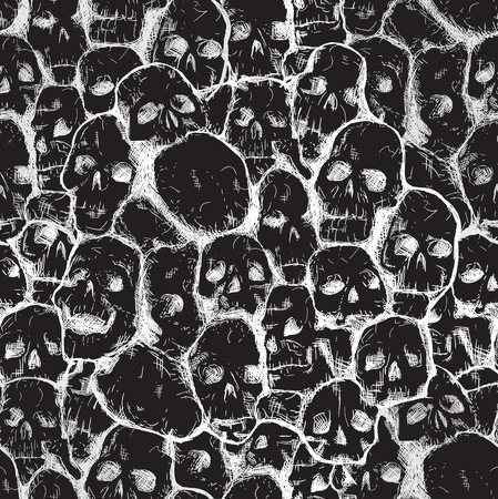 Conjoined grungy stylized skull for prints and patterns