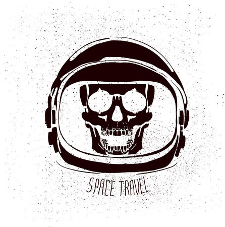 space suit: abstract astronaut helmet to space travel vector emblem isolated Illustration