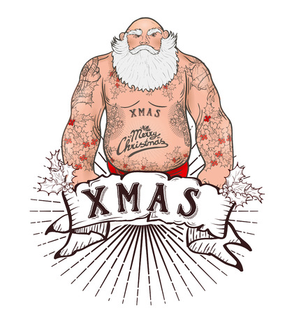 christmas tattoo: Funny cartoon illustration of mighty Santa Claus chest with Christmas tattoos with greeting. Tattoo salon