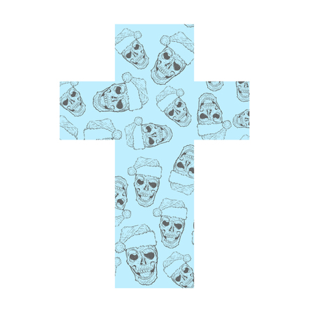 christmas cross: Christmas cross with skulls in a cap of Santa Claus