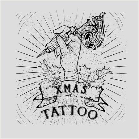tattoos: Christmas offer Christmas tattoo action vector - Vintage Christmas Skull Collection Illustration