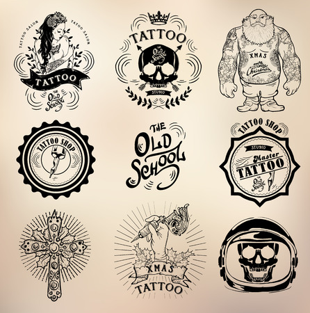 vodoo: set Vector tattoo studio logo templates on dark background. Cool retro styled vector emblems. Illustration