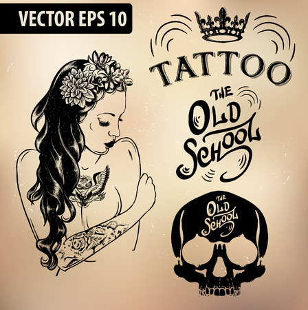 skull design: Vector tattoo studio templates on dark background. Cool retro styled vector emblems.