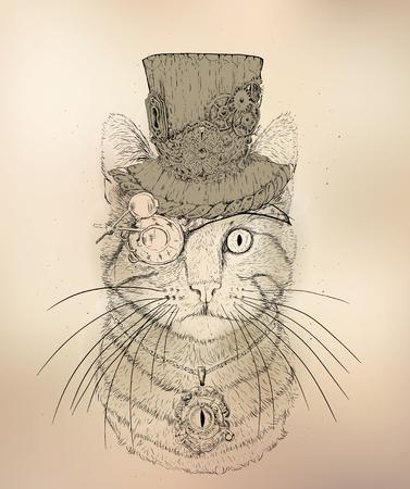 帽子とメガネでスチーム パンクな猫 ベクターイラストレーション