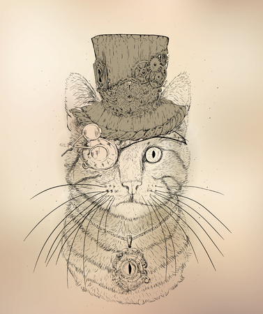 steampunk cat in the hat and glasses Stock Illustratie