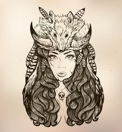 mujer con rosas: Hermosa mujer con cabello largo y cuernos de zorro Vectores