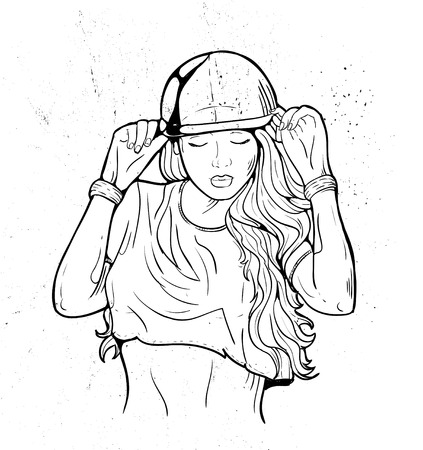 rap music: Rap music girl. Pretty Young Urban Rap Girl. Lady Vector artwork. Doodle art isolated on white background. Face emotion illustration. Illustration