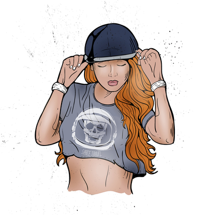 Rap music girl. Pretty Young Urban Rap Girl. Lady Vector artwork. Doodle art isolated on white background. Face emotion illustration. Stock Illustratie