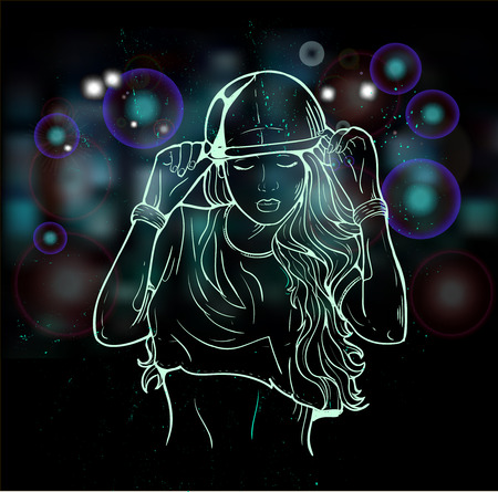 rap music: Rap music girl. Pretty Young Urban Rap Girl. Lady Vector artwork, text can be removed. Doodle art isolated on white background. Face emotion illustration.