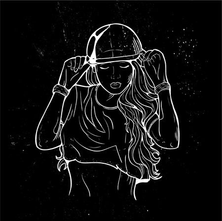 hip: Rap music girl. Pretty Young Urban Rap Girl. Lady Vector artwork, text can be removed. Doodle art isolated on white background. Face emotion illustration.