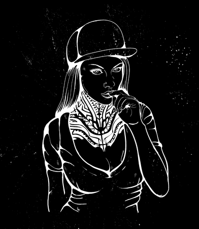 rap girl in a cap with tattoo Ladyrocker