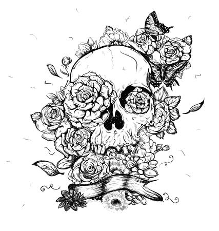 Schedel en bloemen vlinders vector illustratie Day of the Dead
