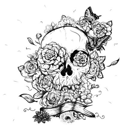 Skull and flowers butterflies vector illustration Day of the Dead Ilustração