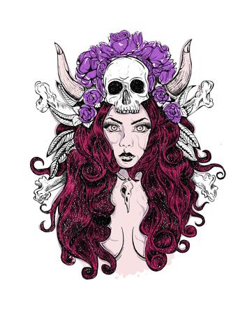 Day of dead girl black and white illustration