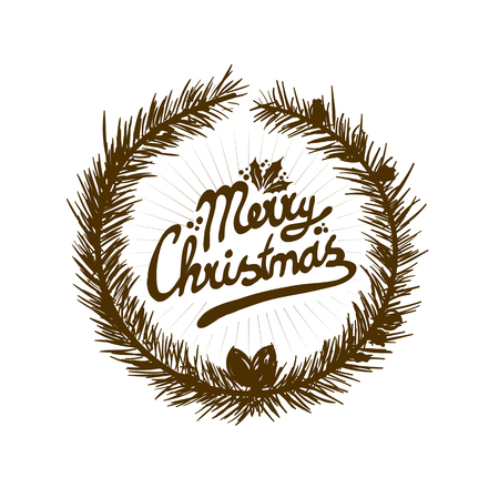 inscription: sign with Merry Christmas on a blue background vector Illustration