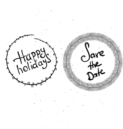 hand written: Happy holidays handwritten vector illustration, dark brush pen lettering isolated on white background