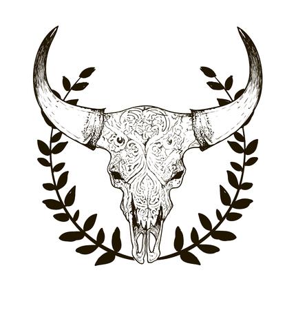 demonio: bosquejo blanco y negro, ilustraciones dibujo cráneo de vaca con cuernos