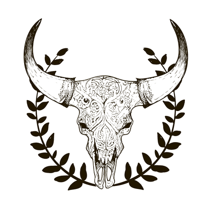 black and white sketch, illustrations drawing cow skull with horns