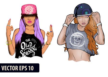 Rap Musik Mädchen. Ziemlich Young Urban Rap-Mädchen. Lady Kunstwerk. Doodle Kunst isoliert auf weißem Hintergrund. Gesicht Emotion Illustration.