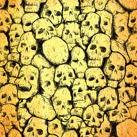 conjoined: Conjoined grungy stylized skull for prints and patterns