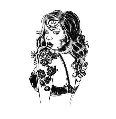 tattoo studio templates on dark background. Cool retro styled emblems.