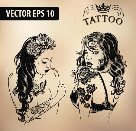 plantillas estudio de tatuajes en el fondo oscuro. Enfriar emblemas de estilo retro.