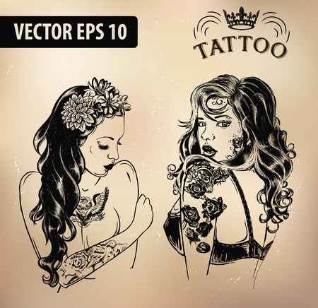 tattoo studio templates op een donkere achtergrond. Cool retro stijl emblemen.