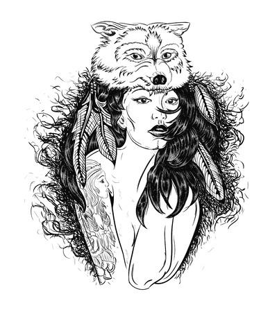 Vecchio cranio tatuaggi ragazza tatuata il lupo Immagine