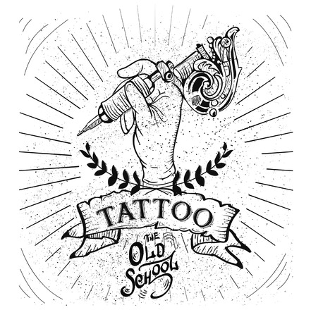 Vector tattoo studio di modelli di logo su sfondo scuro. Raffreddare in stile retrò Vector emblemi.