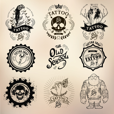 vodoo: set Vector tattoo studio logo templates on dark background. Cool retro styled vector emblems. Illustration