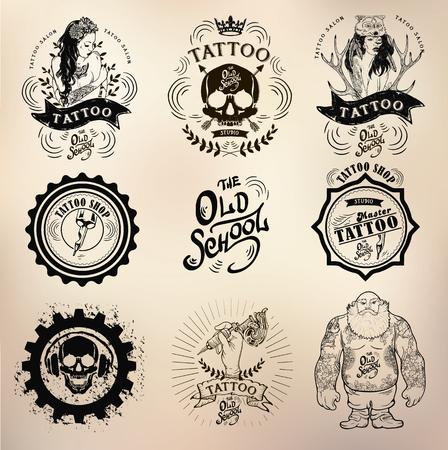set Vector tattoo studio logo templates on dark background. Cool retro styled vector emblems. Illustration
