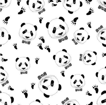 Cute panda face. Seamless wallpaper. Panda head silhouette
