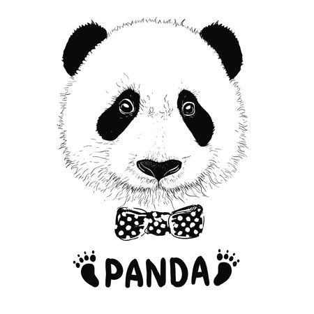 Baby panda face icon. Baby panda. Asian bear. Cute panda. Positive panda. Isolated panda head on white background. Panda head silhouette Illustration