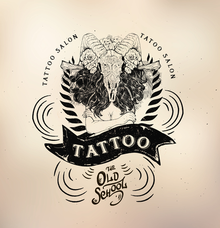 studio logo: Vector tattoo studio logo templates on dark background. Cool retro styled vector emblems.